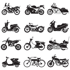 Motorcycle Icons set. Vector EPS10
