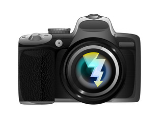 flash strike in camera focus ready to snapshot isolated