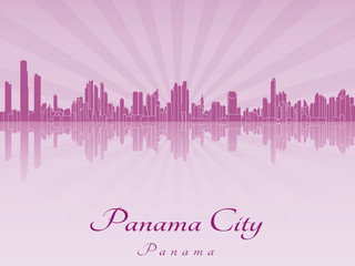 Panama City skyline in purple radiant orchid