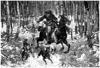 Hunting with Dogs in the Snow