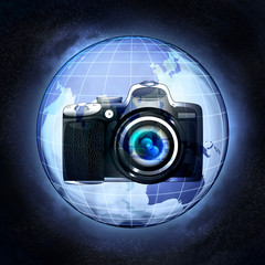 take pictures of Asia countries at cosmic view concept