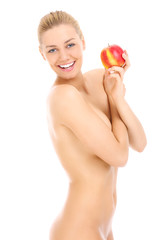 Sensual naked woman and apple