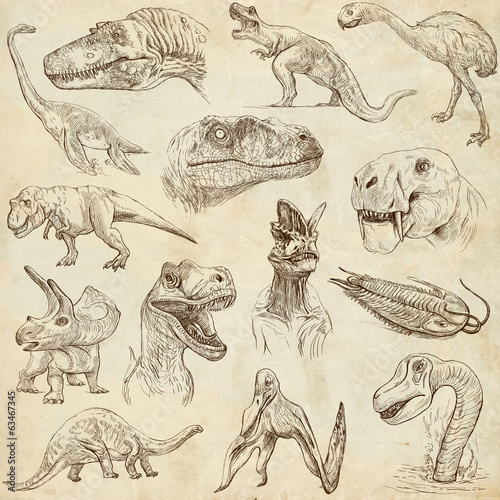 Dinosaurs no.1 - on old paper, full sized hand drawn set