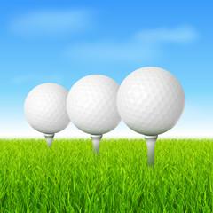 Wall Mural - golf balls on green grass