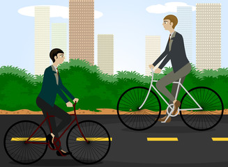 Clean energy,cycling reduces pollution vector cartoon background