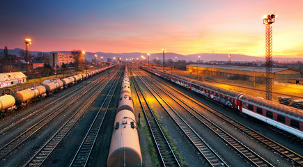 Cargo freight train railroad station - fototapety na wymiar