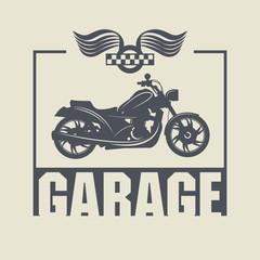 Vintage Motorcycle Garage label, vector