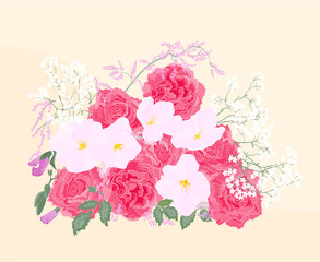 Background bouquet of roses and orchid
