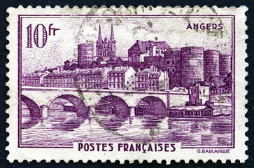 Postage stamp France 1941 View of Angers