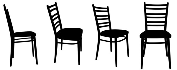 Vector silhouettes of chairs.