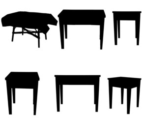Vector silhouettes of table.