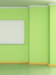 Modern home interior with pea green wall and painting. 3D.