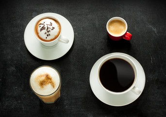 Cappuccino, espresso, americano and latte coffee