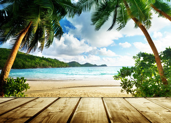 Wall Mural - seychelles beach and wooden pier