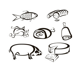 Vector icons of food, meats, cheeses
