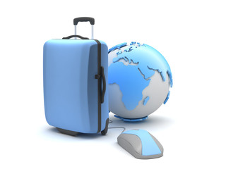 Travel bag, earth globe and computer mouse
