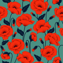 Foto op Canvas Botanisch Poppy seamless pattern