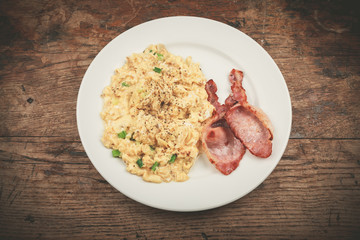 Bacon and scrambled eggs