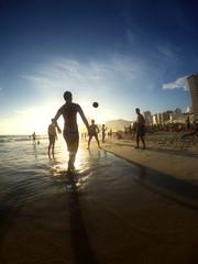 Carioca Brazilians Playing Altinho Futebol Beach Football