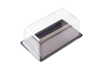 Transparent plastic box on white background.