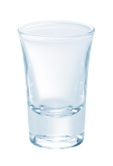 Glass of vodka isolated on white background.