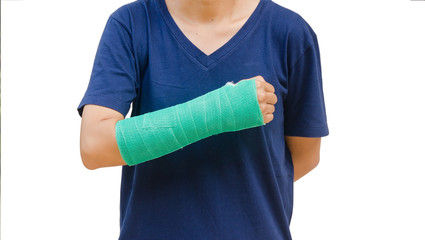 green cast on hand and arm on white background