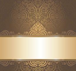 Brown & gold vintage wallpaper design