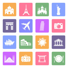 Travel & landmarks icons set, flat design vector
