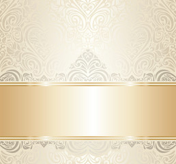 white & gold vintage invitation luxury background design