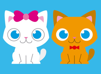 Adorable Cartoon Cat Couple On Background