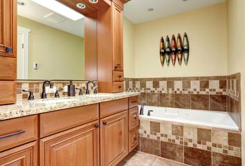 Brown tones bathroom interior