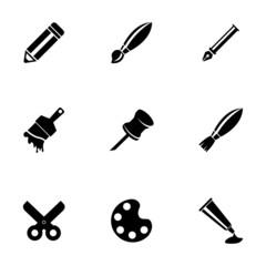 Vector black art tool icons set