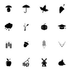 Vector black autumn icons set