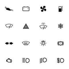 Vector balck car dashboard icons set