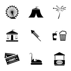 Vector black carnival icons set