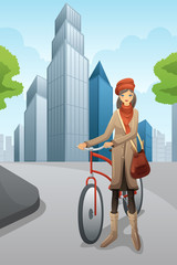 Woman with a bike in the city