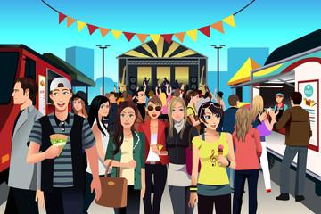 People in street food festival