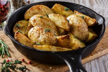 baked potatoes in pan