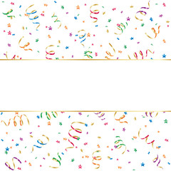 Banner with confetti and streamer