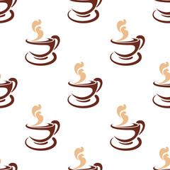 Seamless background pattern of steaming coffee