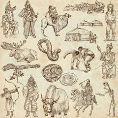 Mongolia - full sized hand drawn illustrations, collection