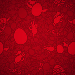 Easter Seamless Pattern in Red Colors