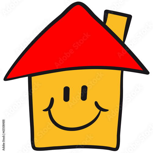 Haus bauen comic  Lustiges Comic Smiley Haus