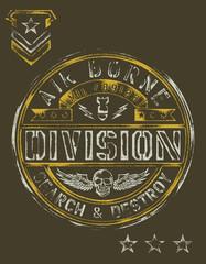 Military Stencil Vintage T-shirt Graphic
