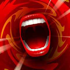 Open mouth with teeth; Screaming shouting singing yawning mouth; Jaw drop; Vector background Eps10