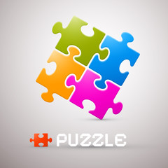 Colorful Puzzle Vector Illustration on Grey Background