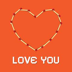 I Love You Theme, Safety Matches Heart on Orange Background