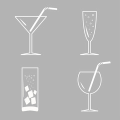 Drinks, cocktails. White icon set in flat design style.