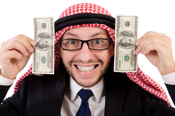 Arab businessman in eyeglasses with dollar in funny concept   is