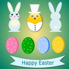 Sfondo pasquale con uova, conigli e pulcino